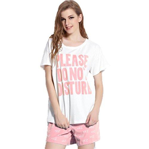 DMMSS Frauen-Baumwolllos Pyjama 2-Teilige Sets Von Gedruckten Kurzärmelige Shorts + Shorts Anzug Rundhals Kleidung Nach Hause Anzug Abgerundet Werden Kann xl