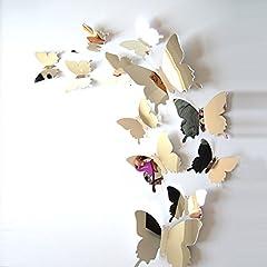 Idea Regalo - ufengke® 12 Pezzi 3D Farfalle Adesivi Murali Fashion Design DIY Farfalla Arte Adesivi da Parete Artigianato Decorazione Domestica, Effetto Specchio