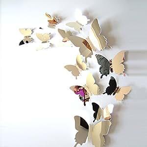 Ufengke 12 pezzi 3d farfalle adesivi murali fashion for Adesivi murali 3d
