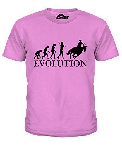 Cowboy-stiefel Mädchen Für Rosa (CandyMix Cowboy Evolution Des Menschen Unisex Jungen Mädchen T Shirt, Größe 12 Jahre, Farbe Rosa)