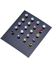HOUSWEETY Acier inoxydable 10 Paires Boucles d'Oreilles CZ Stud Boucles d'Oreilles Cristal 5mm