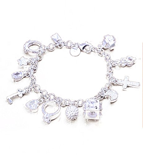 Amonfineshop Personality Women Silvering Fashion Jewelry Charm 13 Pendants Bracelet