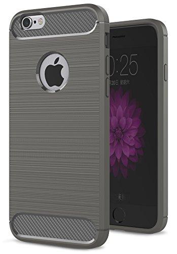 Oceanhome Schutzhülle apple iPhone 6 Hülle , Stoßfest TPU Silikon Schutz hülle Rutschfeste Schlanke Handy hülle für apple iPhone 6 Bumper Case , Carbon Gebürstet für iPhone 6 Case Cover Marine Grau