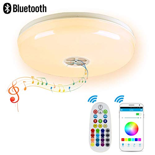 Ceiling Light, LED Flush Mount Ceiling Light, Bluetooth Ceiling Lamp, RGB Multi Color Changing, Dimmable, 3000K-6500K, with High Quality Bluetooth Speaker, Smart Music LED Ceiling Light Flush Mount Speakers
