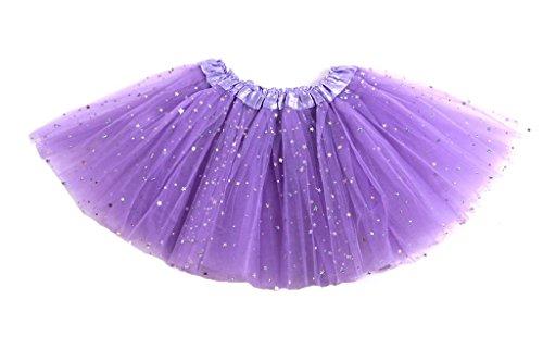 """Tante Tina -Tüllrock """"Stella"""" für Mädchen - Ballettrock mit Sternchen - Tütü Tutu Petticoat - Lila - One Size"""