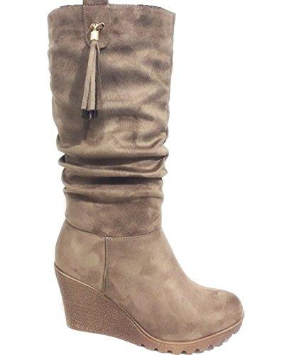 King Of Shoes Bequeme Wadenhohe Damen Keil Stiefel Stiefeletten Keilabsatz Schlupfstiefel Wedges Langschaft J1 (38, Khaki) (Keil-stiefel)