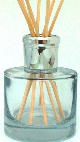 Glasvase / Flasche für Duftstäbchen, abgerundet, glänzender silberfarbener Aufsatz, mit Reise Verschlusskappe Nutze die Vase um eigene Designer Düfte zu kreieren