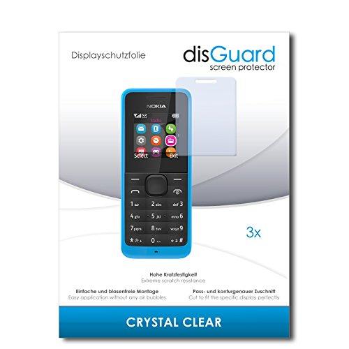 disGuard® Bildschirmschutzfolie [Crystal Clear] kompatibel mit Nokia New 105 [3 Stück] Kristallklar, Transparent, Unsichtbar, Extrem Kratzfest, Anti-Fingerabdruck - Panzerglas Folie, Schutzfolie