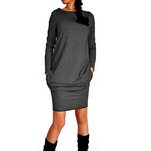 Amlaiworld Femmes Automne hiver Tendance Casual Mini robe Gris foncé
