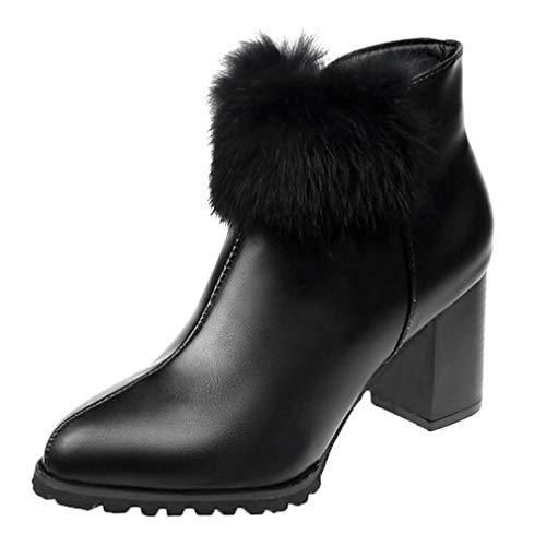 SHOESHAOGE Damenmode Stiefel Pu (Polyurethan) Herbst Casual Stiefel Chunky Heel Booties/Stiefeletten Pom-Pom Schwarz/Wein (Pom Bootie)