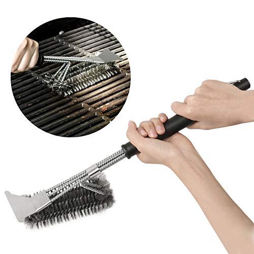 AMILE Brushes with, 17 Inch Handle for Easier and Effective Cleaning BBQ Triangle Grill Barbecue Pinsel mit Scraper, 43,2cm Griff für Einfacher und effektive Reinigung, Schwarz, 43,2 cm