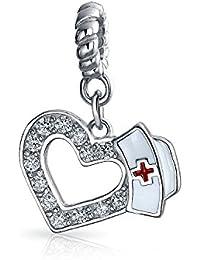 Bling Jewelry Nurse Hat en forme d'coeur Dangle Bead Charm Sterling Silver