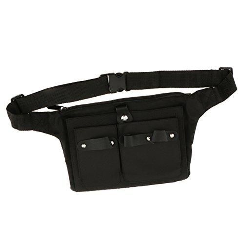 Cinturón de lona profesional con varios bolsillos para peluquería de MagiDeal. De color negro