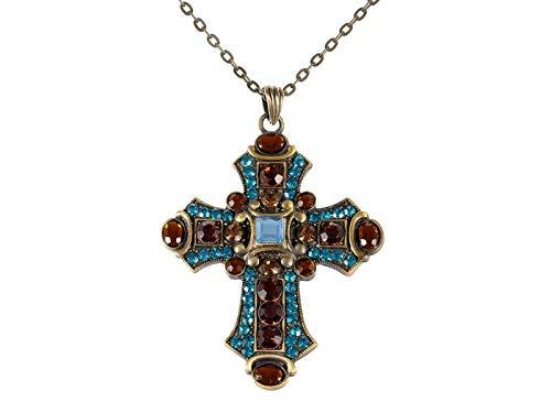 Riesige Aquamarin Blau Topaz Kristall Strass Accent Heiligen Kreuz Anhänger Halskette (Aquamarin-kreuz-anhänger)