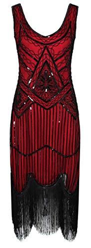 Ro Rox 1920er Jahre Great Gatsby Kleid - Rot (XS - 34)