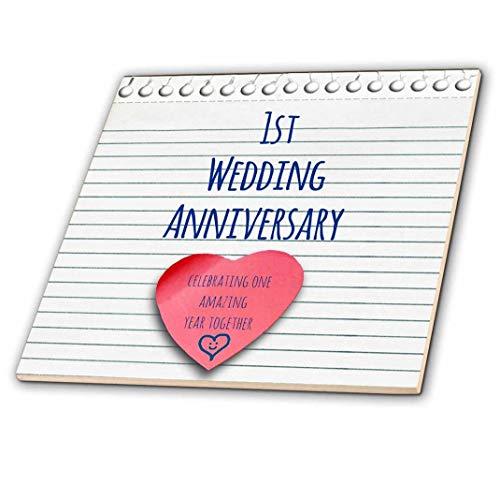 3dRose 1. Hochzeitstag Geschenk-Papier Feiern 1Jahr zusammen-Erste Jahrestage-One YR-Keramik Fliesen, 6(CT 154428_ 2) -