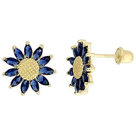 14K Or jaune 3/20,3cm (10mm) Hauteur Tournesol Boucles d'oreilles clous, W/Coupe Marquise Bleu sapphire-colored CZ