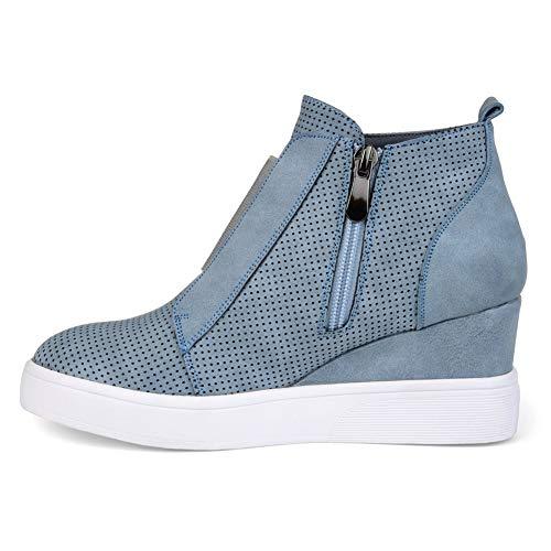 c9d396555b5 Ankle Boots Women Flat Heeled Hidden Wedge Booties Ladies Autumn Winter  Shoes With Zip Platform Martin