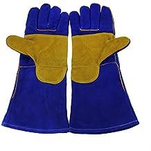 Guantes de soldar, guantes de manoplas de soldador, diseño de alta temperatura Barbacoa Estufa largo con forro guantes de soldador Fuego de leña Guantes de seguridad guantes de trabajo resistente al calor, azul