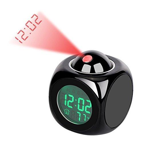 Wecker Digital Projektions Wecker Smart Cube LED Schreibtischuhr LCD Display mit Hintergrundbeleuchtung Unterstützung Aktuelle Zeit Bericht / Stündliche Glockenspiel / Snooze / Thermometer (Schwarzes)