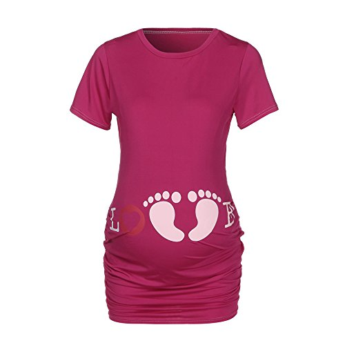 Topgrowth T Shirt Premaman Divertenti Stampare Top Slim Fit Footprint Pregnancy Shirt Manica Corta Maglietta Gravidanza