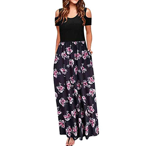 MORETIME Summer Dress Plus Size Damen Kalte Schulter Tasche Blumendruck Elegante Maxi Kurzarm Lässige Kleidung Brautjungferkleid Short Sleeve African Print Dress Plus Size Sleeveless Jumpsuit