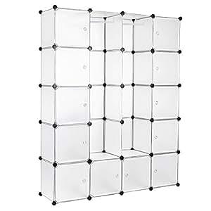 Songmics DIY Kleiderschrank Garderobenschrank Mit 2 Kleiderstange Regalsystem 180 x 145 x 37 cm Weiß LPC30W