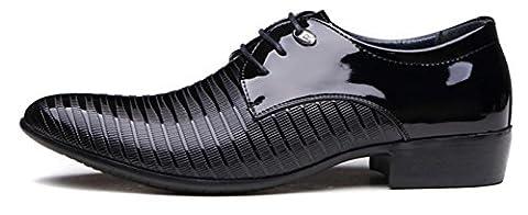 HYLM Männer Anzüge Schuhe britischen Business Casual Schuhe / spitze Spitze Hochzeit Schuhe schwarz große Größe 45,46 , 45 , (Schwarz Glatt Mokassin)