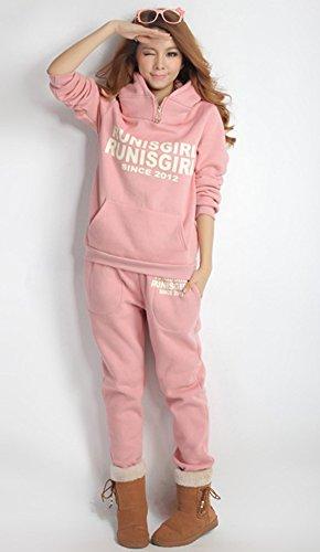 Blansdi Femmes Encapuchonné Plus épais Décontractée actif Sweat-shirt Gilet les pantalons de survêtement 3 Ensemble de pièces Survêtement Rose