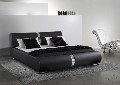 Dreams4Home Polsterbett mit Kunstlederbezug 'Milo' 160, 180 o. 200×200 cm, Schwarz, Liegefläche:200×200 cm