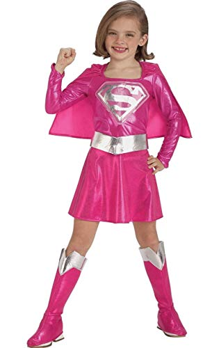 Kostüm Rosa Supergirl - KULTFAKTOR GmbH Supergirl Kinder Lizenzkostüm rosa-silberfarben 116 (5-6 Jahre)