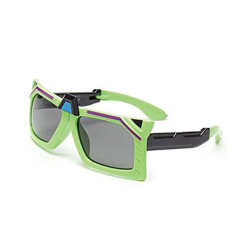 Yiph-Sunglass Sonnenbrillen Mode Faltbare Cool Boys Sonnenbrillen Polarisierte Gläser UV-Schutz für Kinder von 3 bis 12 Jahren mit Geschenkbox (Farbe : Grün)