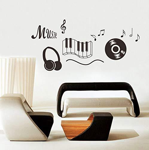 er Kopfhörer Thema Musik Schlafzimmer Dekor Tanzen Musik Hinweis Abnehmbare Wand Aufkleber Adesivo De Parede Zimmer Dekor ()