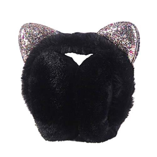 Lifet Frauen/Mädchen Faltbar Ohrenschützer Kunstpelz Glitter Pailletten Katzenohren Ohrenwärmer Stirnband (Schwarz)