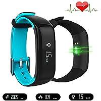 Jcotton Bluetooth Smart Watch IP67 étanche Smart Band avec pression artérielle moniteur de fréquence cardiaque Sport Bracelet Santé Fitness Tracker Podomètre appel Message Rappel pour iOS Android Phone
