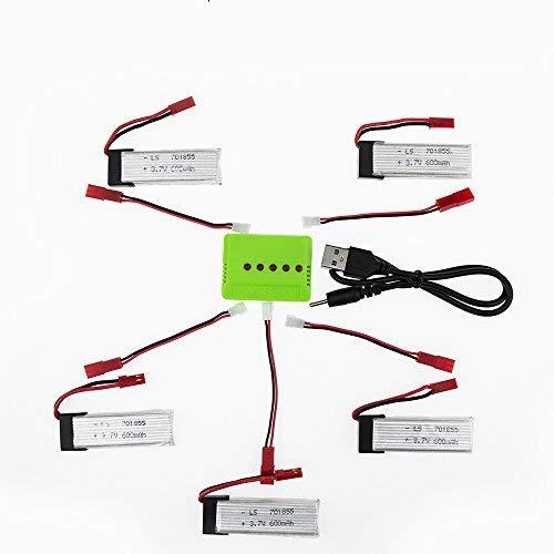 YUNIQUE DEUTSCHLAND ® 5 Lipo Ersatzakku 3.7v 600mAh für UDI 818A RC Quadcopter UFO mit 5in1 JST USB Ladekabel Set rc Quadrocopter Drohne Ersatzteil rc Spielzeug Aufladung zubehör