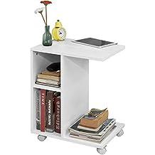 SoBuy FBT48-W Beistelltisch mit Schlitz für iPad, Zeitungsständer Couchtisch Tisch mit Rollen weiß BHT ca: 45x58x35cm