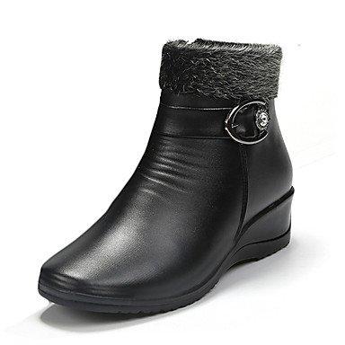 RTRY Scarpe Donna Pu Primavera Autunno Inverno Comfort Combattere Stivali Stivali Chunky Tallone Punta Tonda Fibbia Per Casual Marrone Scuro Nero US7.5 / EU38 / UK5.5 / CN38