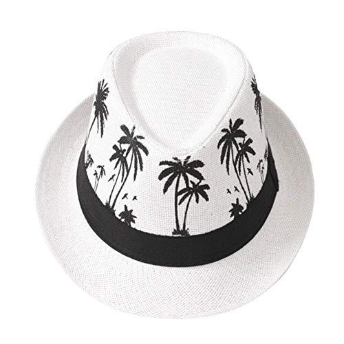 PL-IMK Sommerhut Herren Sonnenschutz Reise Panama Fedora Freizeit Stroh Sommer Breite (Weiß) Panama Fedora