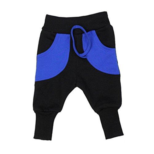 Baby-Hose Warme Pumphose Baggy Jogginghose Baumwolle Jungen Sweathose Mädchen Herbst Winter, Farbe: Schwarz / Blau, Größe: 92