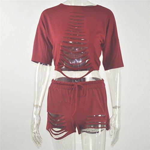 Femmes Sexy Cut Out creux Dînette Set à manches courtes + Drawstring Shorts taille Rouge