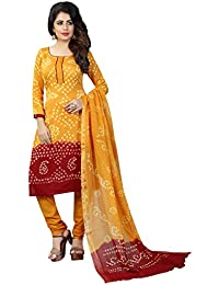 Taboody Empire Smart Yellow Satin Cotton Handi Crafts Bandhani Work With Straight Salwar Suit For Girls And Women