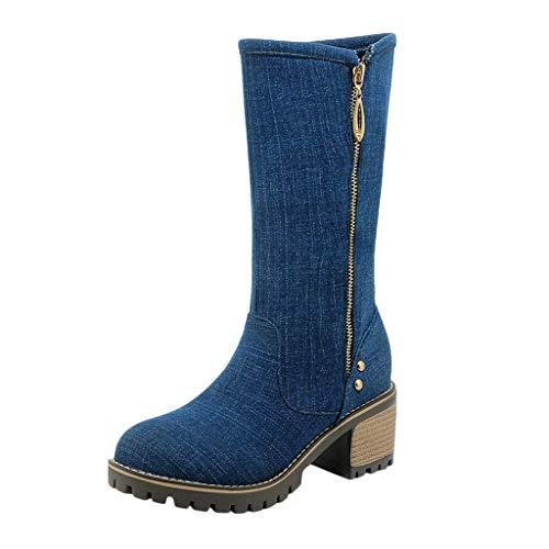 LILIHOT Damenmode Denim Reißverschluss Starker Absatz Schuh Western Winter Round Toe Ankle Boots Retro Stiefel Klassische Freizeitschuhe Casual Ankle Boot Winterschuhe
