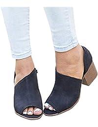 Mine Tom Minetom Sandalias Mujer Verano Casual Gamuza Sintética Sandalias Gruesas de Punta Abierta y Tacón Cuadrado con Tira Al Tobillo Zapatos