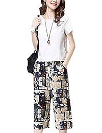 8ef7fe47f446 Donna Set Tops E Pantalone Estivi Fashion Eleganti Stampate Sciolto Giovane  Abiti da Festa Casuali Vintage
