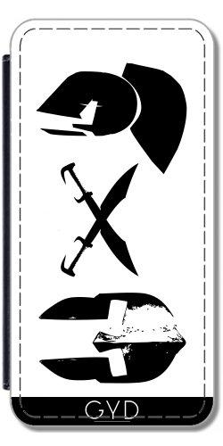 Leder Flip Case Tasche Hülle für Apple iPhone 6/6S - Spartanisch Helme Und Schwerter. by loki1982 Lederoptik
