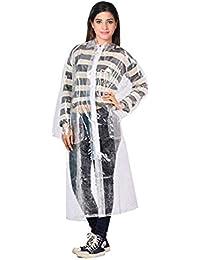 Krystle Transparent 100% Water Proof Rain Coat|Rain Coat with Hood & Bottom for Men|Women|Girl's Size (X-Large) - Overcoat White