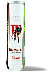 Wilson Balle de tennis Intérieur/Extérieur, Entraînement, Toutes surfaces, 4 Balles, Tour Practice, Jaune, WRT114500