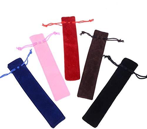 MODEOR 25PCS Mix Color Velvet Pen Pouch Draw String Pen Pouch Sleeve Holder, Single Pen Bag Case Pencil Bag -