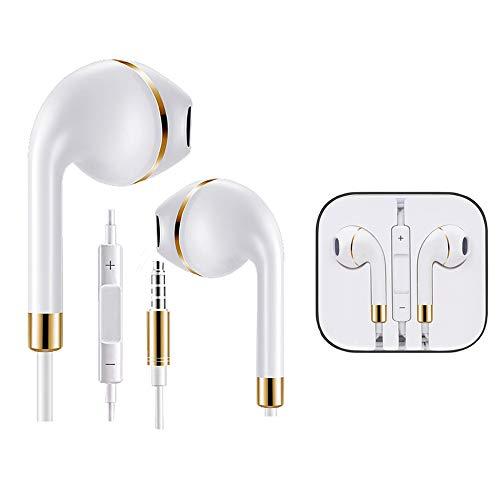 2er Pack gold/silber InEar Wired Headset mit Mikrofon und Lautstärkeregler für Samsung, Sony, Huawei, Nokia, HTC, iPhone, iPad Google Pixel Smartphones mit 3,5mm eardphones Freisprecheinrichtung gold
